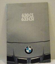 BMW 630CS & 633CSi UK Sales Brochure Dated 1978