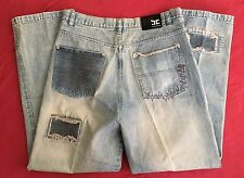Barcode distressed Mens Denim Hip Hop Baggy Patched Blue  Jeans 36x34