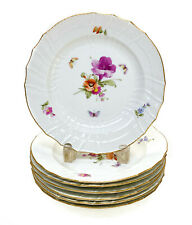 7 KPM Berlin Germany Hand Painted Porcelain Dessert Plates, Floral Decorated