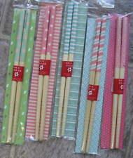 Lot 5 Pair short HAIR STICKS 7 inch Party Pastel Stripes Dots Flowers Fun!