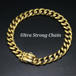 Gold Chain Dog Collar Luxury Heavy Duty Stainless Steel Pet Choke Cuban Link