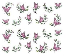 Nail Art Decals Transfers Stickers Pink Butterflies (A-357)