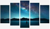 Fantasy Boat - Universe Stars Mountain Landscape 5 Split Panel Canvas Picture