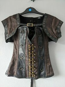 STUNNING STEAMPUNK QUALITY CORSET BASQUE & SHOULDER JACKET SIZE SMALL 24