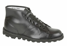 Grafters B430a Mens Leather 7-eyelet Monkey BOOTS Black UK 9 Ukd .b430a