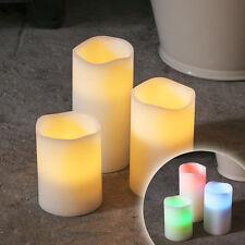 3x LED candele in vera cera TAGLIATA cambio colore bianco caldo batteria