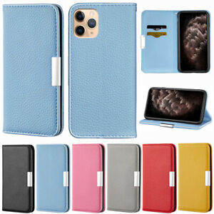 Solid Wallet Leather Flip Case Cover For iPhone 12 11 Pro XS Max XR 6S 7 8 Plus