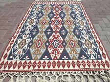 "Anatolian Kilim Vintage Geometric Designed Rug 4x6 Floor Turkish Carpet 46""x73"""