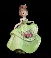 "Vintage Josef Originals Figurine SUMMER DAYS SERIES Girl Lady Green Dress 6"""