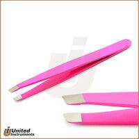 Professional Hair Remover Eyebrow Tweezer Pink Color Slanted Tip Plucker Tools