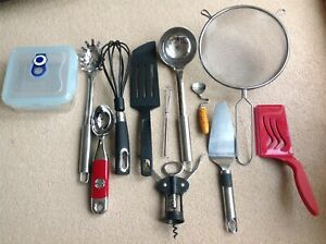 12 x Kitchen Cooking Utensils Job Lot Sieve Ladel Whisk Scoop Kitchen Aid Tefal