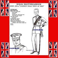 Ken Size Royal Groom Wedding Uniform sewing Pattern Prince William