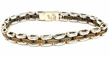 Laton Sterling Silver & Brass Link Bracelet 925 Vintage Jewelry Mexican 27.4 Grs