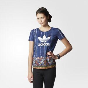 adidas Originals Women's Cirandeira T-Shirt Floral Print Navy and Multi Colour