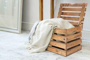 Wickerfield Storage Wooden Trunk Chest Blanket Box Coffee Table Ottoman