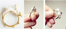 R246 Betsey Johnson Running Easter Bunny Rabbit Pearl Band Ring  UK