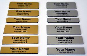 Custom Personalised Rectangle Engraved Name Badge Plastic, Metal or Magnet Clip