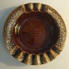 "Hull Pottery Ashtray Brown Drip Glaze Deer Horse 8"" Diameter Art Pottery"