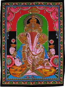 Hindu God Ganesh Print Sequined Cotton Wall Hanging Fair Trade Large 80 x 110cm