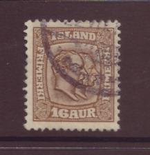 Iceland, 16 aur, brown,  FU, 1907 - 08