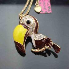 Z643K   Betsey Johnson Crystal Enamel Lovely Woodpecker Pendant Sweater Necklace