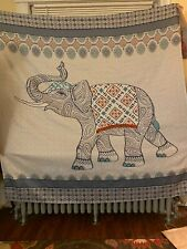 Gently used, colorful, decorative Indian motif shower curtain