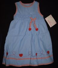 Girls NWT Youngland Dress Sz Size 6 Blue Red Hearts White