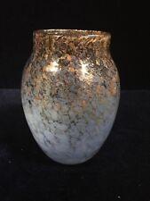 Vintage Handmade Art Glass Vase With Gold Flecks