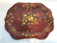 Antique Red Hand Painted Englsih Chippendale  Tole Tray