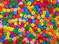 10mm Mixed Colour Alphabet  Letter Cube Wooden Beads Craft Beading Kids - ML