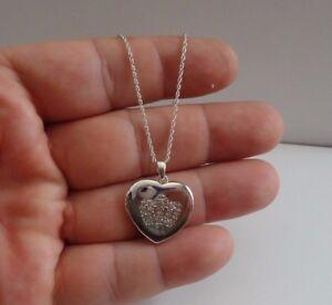 HEART LOCKET NECKLACE PENDANT W/ LAB DIAMONDS / 925 STERLING SILVER / 18''