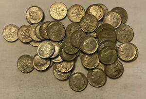 1960-1963 Roosevelt Dimes 90% Silver. 1 Roll 50 Coin Lot.
