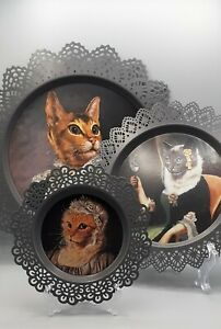 Rare Full Set Of 3 THIERRY PONCELET  ART CAT PORTRAIT METAL WALL PLATE HANGING