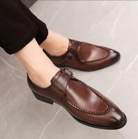 Business Mens Faux Leather Dress Shoes Casual Buckle Formal Wedding Pointed Shoe