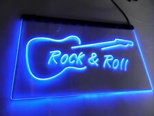LED Sign Neon Light Rock n Roll Blue Guitar Design Art Picture Rock And Roll UK
