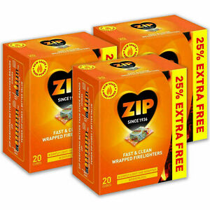 ZIP Fast & Clean Wrapped Firelighters for Open Fires BBQs Stoves Chimineas