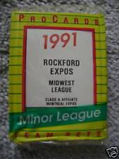 1991 ROCKFORD EXPOS MINOR LEAGUE TEAM SET PROCARDS