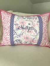 "Pottery Barn Kids Pink Floral Standard Pillow Sham Embroidered ""Shayna"""
