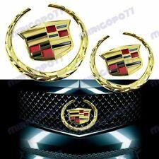 GOLD Cadillac Front Grille Rear Trunk Lid Badge Emblem for Escalade SRX XTS 2PC