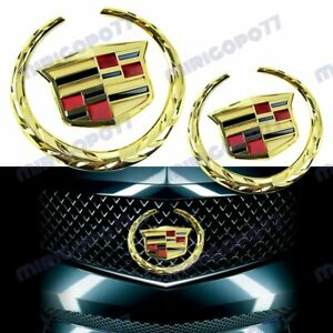GOLD Cadillac Front Grille Rear Trunk Lid Badge Emblem for Escalade SRX XTS 2PC