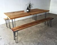 Industrial Reclaimed Timber Scaffold Board Table. On Hairpin Legs (Size options)