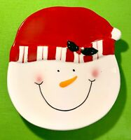 SNOWMAN FACE Ceramic Holiday Dish, 'Tis The Season To Be Jolly' Hand Painted-NEW