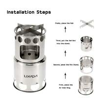 Lixada Portable Stainless Steel Wood Stove Outdoor Cooking BBQ Camping Burner