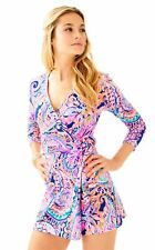 NWT LILLY PULITZER KARLIE WRAP ROMPER Blue Current Drop Me A Lime XS-XL