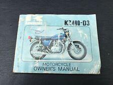 1975-1977 Kawasaki Kz400 D3 Owners Manual Service Book Original Blue Kz 400 (Fits: Kawasaki)