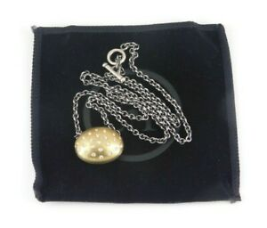 "Esti Frederica 925 Sterling Silver & 18k Gold Diamond Necklace 18"" Long"