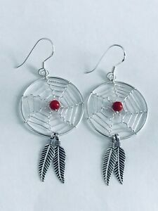 925 Sterling Silver Dream Catcher Large With Coral Bead Earrings