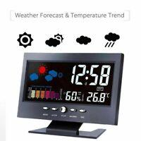Led Digital Alarm Clock Snooze Calendar Thermometer Hygrometer Weather Display