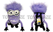 DESPICABLE ME 2 PLUSH BACKPACK! PURPLE EVIL MINION 3D TWO EYED SOFT DOLL BAG 18""