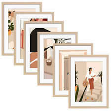 ArtbyHannah 12x16 Inch 6 Pack Wall Photo Frame Set with Modern Poster Home Decor